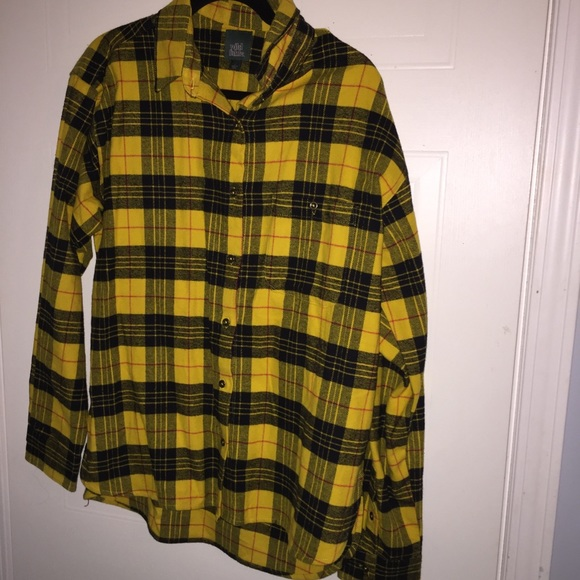 97aef758 wild fable Tops   Yellow Striped Plaid Button Up Oversized Large ...